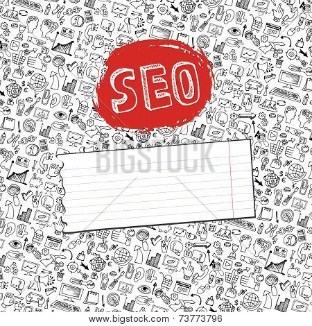 Doodle seo icons backgrround. Business backdrop