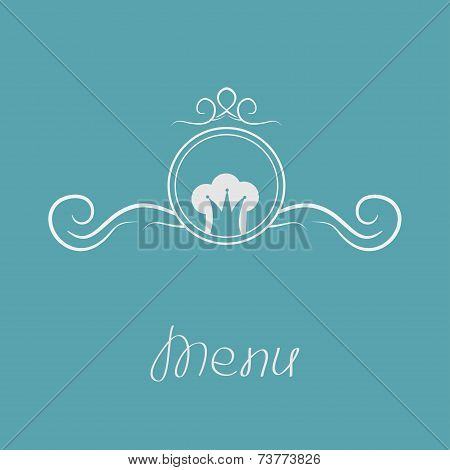 Chef hat crown and round abstract frame. Menu card with calligraphic element. Flat design style.