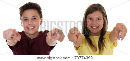 Young Teenager Or Children Pointing With Finger I Want You