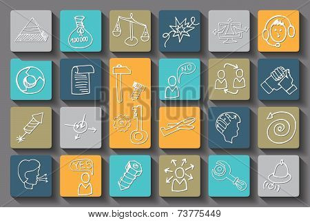 Doodle business seo long shadow icons .Outline sketches
