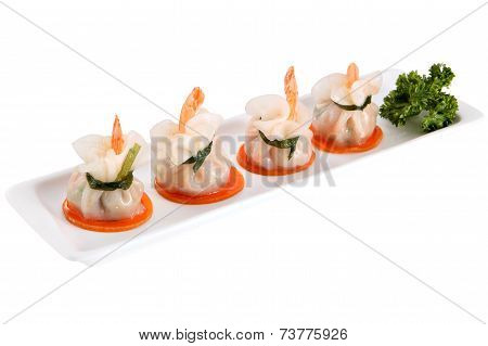 Dumpling Dish, Bag Dim Sum Tail Shrimp, Isolated On White.