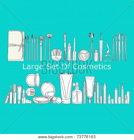 large set of cosmetics