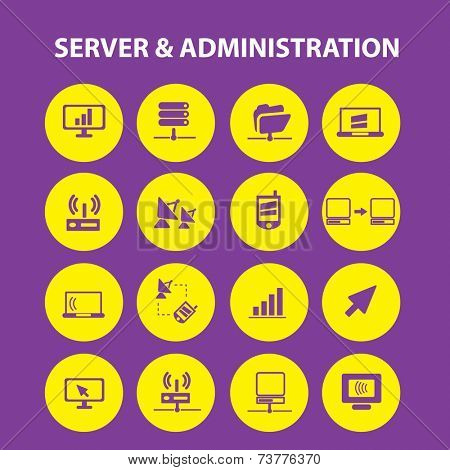 server, administration, computer, network isolated icons, signs, illustrations, silhouettes set, vector on background for web and mobile