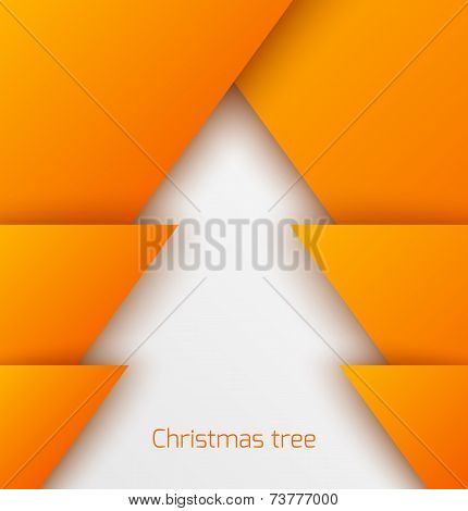 Orange abstract christmas tree paper applique