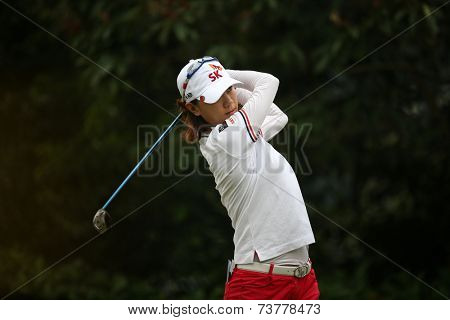 KUALA LUMPUR, MALAYSIA - OCTOBER 11, 2014: Na Yeon Choi of South Korea tees off at the fourth hole of the KL Golf & Country Club during the 2014 Sime Darby LPGA Malaysia golf tournament.