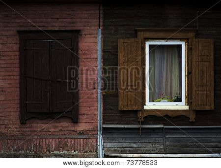 old shabby wood opened window