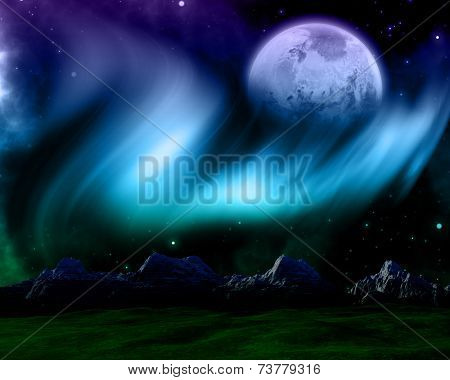 3D render of an abstract space scene with northern lights sky and fictional planet