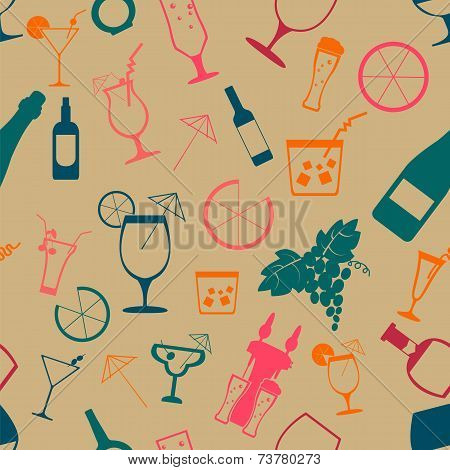 Cocktails Alcohol Drinks Background. Seamless