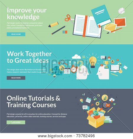 Flat design vector illustration concepts for education