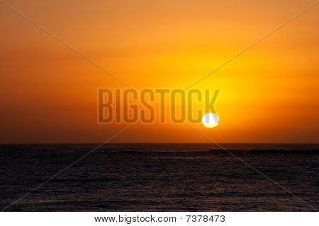 Glorious Completed Sunrise Over Ocean, Clear Day