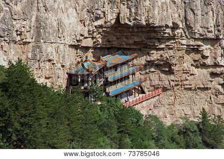 Heng Shan Monastery In Shanxi Province Near Datong, China,  Oil Paint Stylization