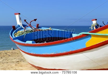 Colourful Fishing Boat on Fishersmans beach Armacao De Pera