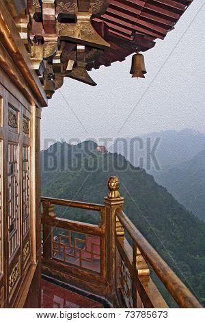 Chinese Pagoda Oil Painting Stylized Photo