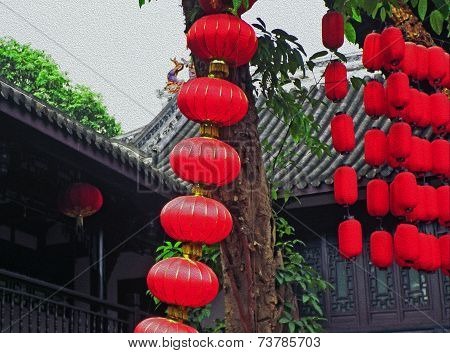 Rows Of Red Chinese Papar Lanterns , Oil Paint Stylization