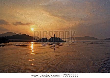 Sunset At Putuo Island Oil Painting Stylized Photo