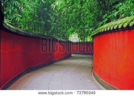 Chinese Garden In Chengdu, China, Oil Paint Stylization