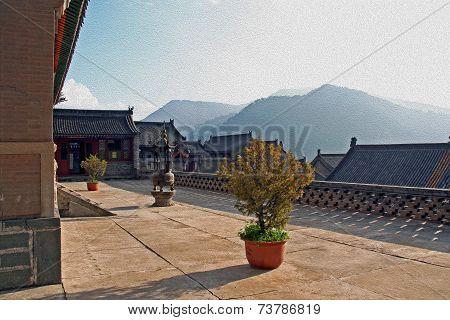 Nanshan Temple, Wutaishan, China, Oil Paint Stylization