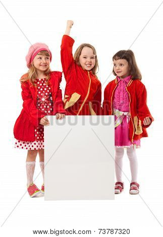 Girls In Red Are Holding White Billboard