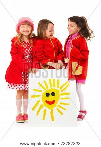 Little Girls And White Billboard Of Children's Drawing Of Sun??????? ?????????: