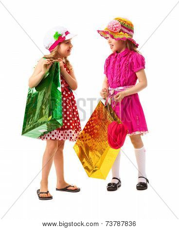Two Little Girl With Shopping Bags
