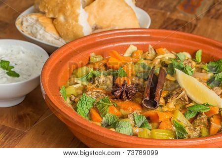 Moroccan Dish With Lamb And Vegetables