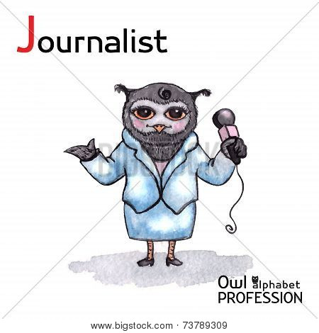 Alphabet professions Owl Letter J - Journalist character Vector Watercolor.