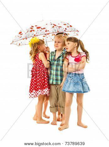 Barefoot Children Under An Umbrella