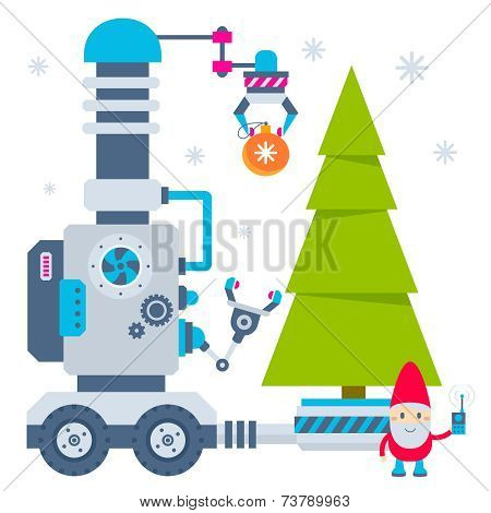 Vector Illustration Of The Gnome Operates The Machine That Carry Ball To Christmas Tree.