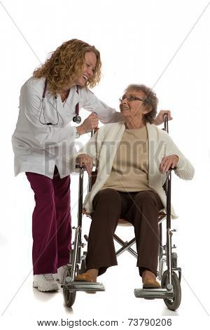 Home Care Nurse Push Senior on Wheelchair on Isolated White Background