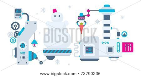 Vector Horizontal Christmas Illustration Of The Machines That Make A Snowman And Bear Him A Carrot T