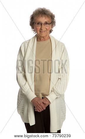 80 Year Old Elderly Senior Happy Portrait Isolated on White Background