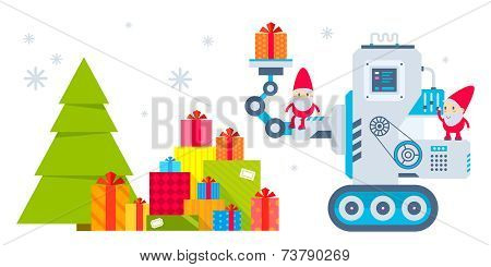 Vector Horizontal Illustration Of The Gnome Operates The Machine, That Puts The Presents Under The C