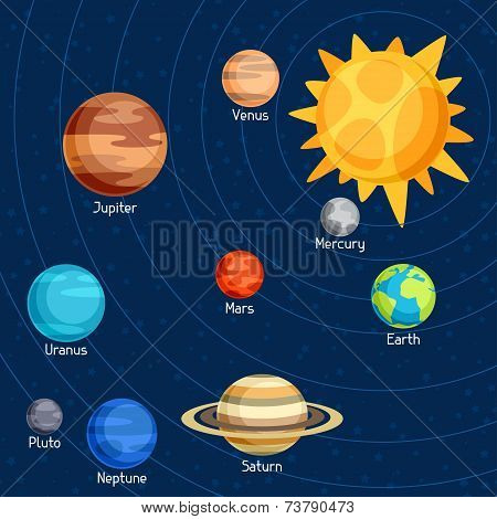 Cosmic illustration with planets of the solar system.