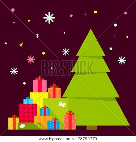 Vector Illustration Of The Christmas Tree And Piles Of Presents Under It On A Dark Background With C