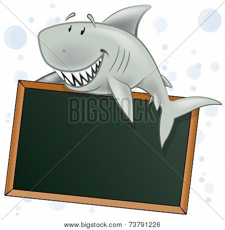 Cute Shark Character With Blank Sign.