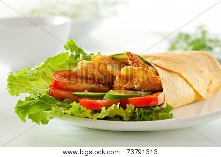 Chicken Burrito with Vegetables and Salad Leaf
