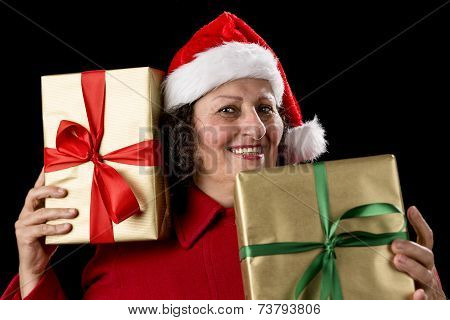 Cheerful Old Lady With Two Wrapped Golden Gifts .
