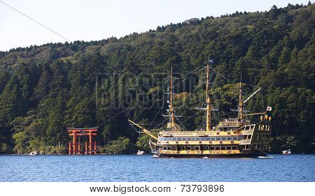 Natural view of Lake ashi at Hakone city , Japan