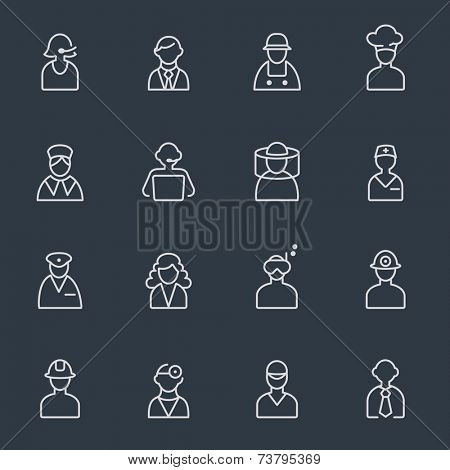 Professionals, people icons - thin line design on dark background