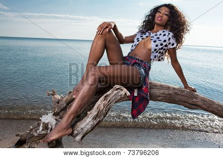 Beautiful young African American woman posing outdoor.