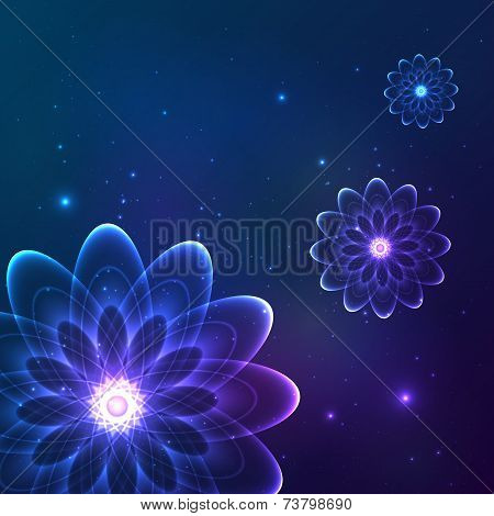 Blue shining vector cosmic flowers