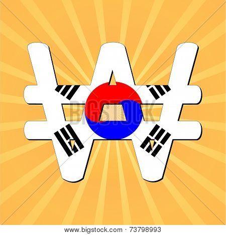 Korean Won with sunburst vector illustration