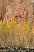 foto of paysage  - Dahkmar red cliffs with its troglodyte caves and trees in autumn colors - JPG