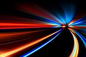 foto of acceleration  - flash acceleration speed motion on night road - JPG