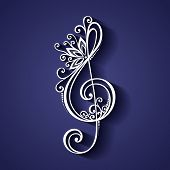 pic of g clef  - Vector Floral Decorative Treble Clef - JPG