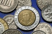 Coins of Italy. Italian Renaissance mathematician Luca Pacioli depicted in the old Italian 500 lira coin. poster