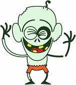 picture of bulge  - Funny bald zombie with bulging eyes - JPG