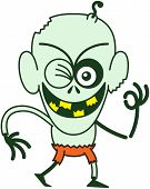 foto of bulge  - Mischievous bald zombie with bulging eyes - JPG