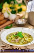 picture of sorrel  - A Plate of Summer (Spring) Chunky Sorrel Soup copy space for your text