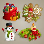 picture of decorative  - Christmas holiday decoration decorative icons set with gifts cookies snowman candle isolated vector illustration - JPG